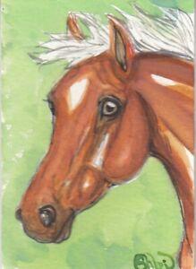 ACEO original Watercolor Art Card Horse Bright bay silver/red Arabian PBA mare