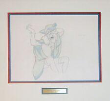 "Disney's ""Peter Pan"" Original Pencil Drawing of a sick Captain Hook - Framed"