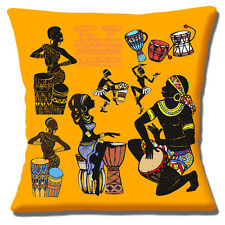 African Tribal Cushion Cover 16 inch 40cm Dancers Drummers & Musicians Collage
