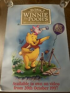 DISNEY WINNIE THE POOH VHS SHOP DISPLAY MOVIE POSTER 33 X 23 INCH 1997