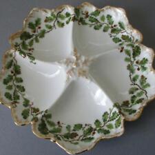 Antique T&V LIMOGES Porcelain 5-Well OYSTER Plate OAK Leaves + ACORNS Gilt Trim