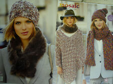 HATS, SCARF & PONCHO  Knitting Pattern 9200 Stylecraft Mosaic Super Chunky
