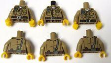 Lego 6 Tan Torso Body For Minifigure Soldier Ranger Police Officer Girl Boy