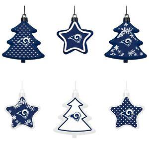 Los Angeles Rams Shatterproof TREES & STARS Christmas Tree Ornaments Set 6 pack