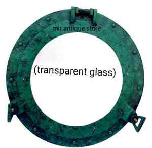 12'' Nautical Antique Ship Porthole Mirror Green Patina Finish Solid Aluminum
