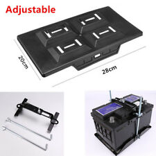 Adjustable Car Storage Battery Tray Holder Base +Hold Down Clamp Bracket Kit Set
