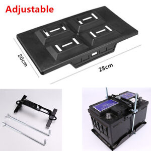 Adjustable Car Storage Battery Tray Holder Base +Hold Down Clamp Bracket Kit Set