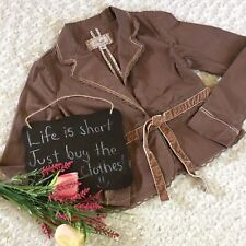 Plugg Women's Jacket Size S Brown Casual Long Sleeve Lace Detail Belted