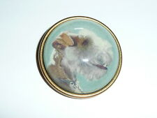 """Wired Hair Terrier Dog Looking Glass Domed Shank Button  Ant Brass Bezel  1-1/2"""""""