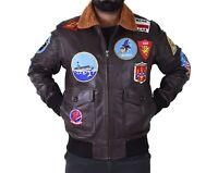 Mens Top Gun Jacket Tom Cruise Type G1 Bomber A2 Navy Pilot Real Leather Jacket