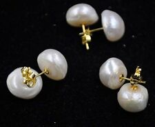 wholesale 1 pairs 13-14mm real freshwater Baroque pearl stud earring golden