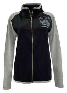 Harley-Davidson Women's Amnesty Poly-Blend Colorblocked Track Jacket- Black/Gray