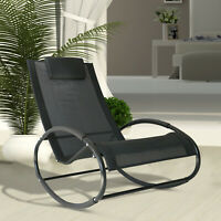 Outsunny Orbital Zero Gravity Chaise Patio Rocking Lounge Chair Black