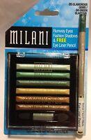 Milani Runway Eyes Fashion Eyeshadow GLAMOROUS GEMS + Eye Liner Pencil GREEN