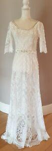 MONSOON Carlotta Lace Hand Embellished Ivory Dress UK 10 Bridal Wedding BNWT