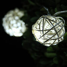 Battery Operated Handcraft Rattan Balls Cool White LED Fairy Lights:ON/OFF/Flash