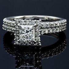 3.18 CT PRINCESS CUT DIAMOND HALO ENGAGEMENT RING 14K WHITE GOLD ENHANCED