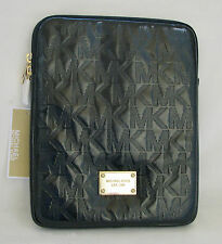 NEW MICHAEL KORS BLACK METALLIC MIRROR LEATHER+GOLD TABLET,IPAD CASE,COVER