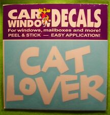 "CAR WINDOW DECAL ""CAT LOVER""  WORDS (WHITE)"