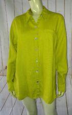 Chicos Design Blouse Shirt Size1 Greenish Yellow Citron Slub Linen SideSlits