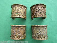 4 bagues garnitures 3/4 rond anciennes laiton décoré colonnes décoration meuble