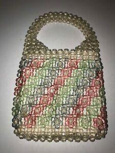 VINTAGE 60s 70s CLEAR PLASTIC BEADED PURSE MADE IN ITALY