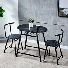 3 Pcs Bistro Dining Set Table and 2 Chairs Kitchen Furniture Home Space Saving