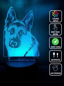 GERMAN SHEPHERD DOG 3D Acrylic LED 7 Colour Night Light Touch Table Lamp