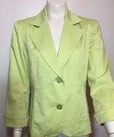 CHICO'S Size 0 Small 8/10 Light Green Blazer Jacket 3/4 sleeves cuffed Lined