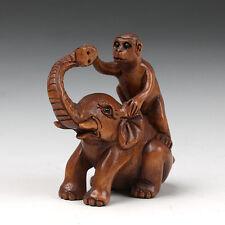 """1940's Japanese handmade Boxwood Netsuke """"Monkey On Elephant"""" Figurine Carving"""