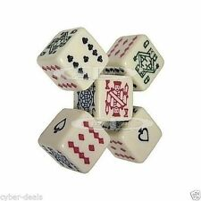 "Set of (5) Poker Dice Ivory-Tone 16mm 5/8"" 6-Sided Card Symbols A K Q J 10 9 New"