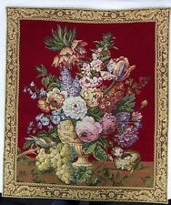 "Vtg Wall Tapestry Les Tissages du Manoir Bouquet Floral 25 1/4"" x 23  3/4"""