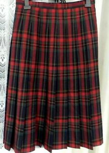 """( Ref 2037 ) Eastex - Size 10 W 30"""" - Red / Multi Check Fully Pleated Skirt"""