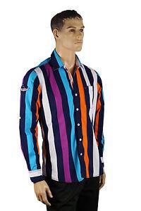 Mens Purple Blue Aqua White Striped VIP Button Up Long Sleeve Collar Dress Shirt