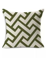 "Modern Design Green Beige Canvas throw pillow cover 17"" x 17"""