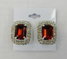 Red Rhinestone Crystal CLIP ON Silver Earrings # 4991RD Bridal Prom Wedding