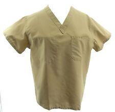 Medline Womens Scrub Top XS Comfort Ease Reversible SS V Neck Pocket Beige Shirt