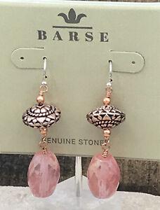 Barse Promenade Earrings- Peach Quartz & Copper-NWT