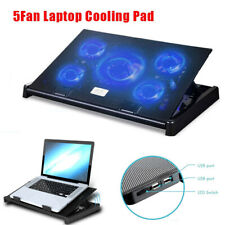 5 Fans Laptop Cooler Stand USB Cooling Pad Chill Mat 12''-17'' Inch Notebook PC