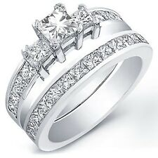 3.00 Ct. Radiant Cut Diamond Engagement Bridal Set GIA