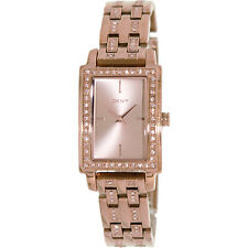 DKNY Women's Crystal Detailed Rose Gold Rectangular Bracelet Watch - NY8625