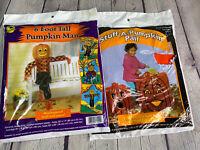 Vintage SunHill 6 Ft Tall Pumpkin Man & Stuff-A-Pumpkin Pair