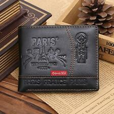 Mens Leather Bifold Wallet ID Card Cash Receipt Holder Organizer Purse Wallets
