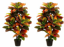 2 ARTIFICIAL 3' CROTON OUTDOOR UV TOPIARY TREE BUSH PATIO IN POT PLANT TROPICAL