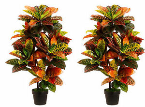 2 ARTIFICIAL 3' CROTON OUTDOOR UV TOPIARY TREE BUSH PATIO IN POT 6 4 5 TROPICAL