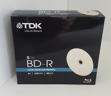 5 x TDK Blu-ray Blank Disc White Printable BD-R