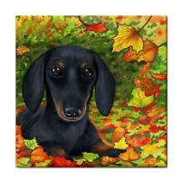 Large Ceramic Tile 6x6 Dog 142 Dachshund fall autumn art painting by L.Dumas
