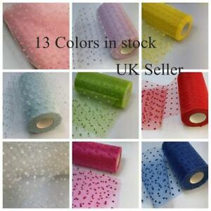 "100% Nylon Tutus Spotty Flocked Dots Netting Fabric 6""/ 54"" Wide UK Seller"