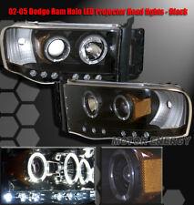 02-05 DODGE RAM 1500/03+ 2500 3500 HALO LED PROJECTOR HEADLIGHT BLACK LEFT+RIGHT