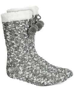 F189 Charter Club Gray Slipper Socks With Faux-Sherpa Lining - L/XL